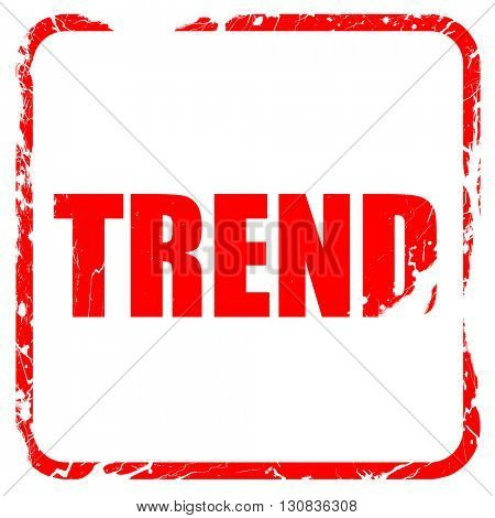 trends, red rubber stamp with grunge edges