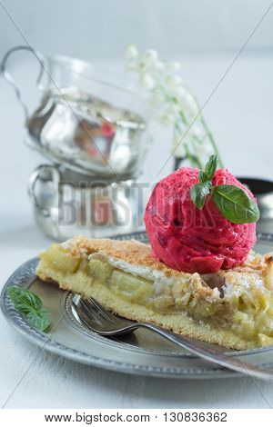 rhubarb - apple pie and a scoop of raspberry sorbet with basil