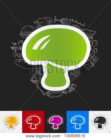 hand drawn simple elements with mushroom paper sticker shadow