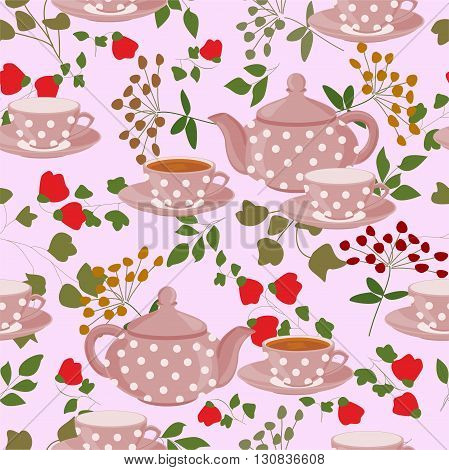 Seamless pattern with teapots, cups and field plants.