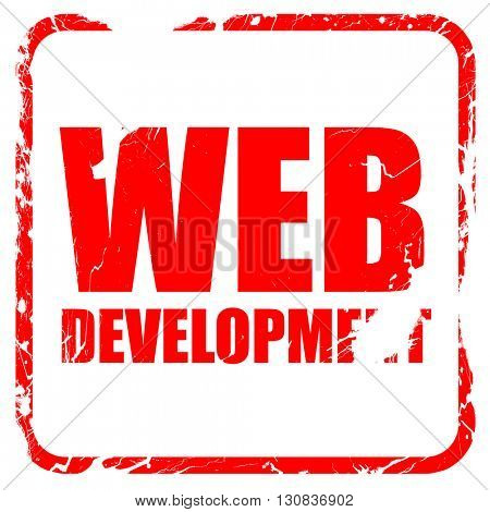 web development, red rubber stamp with grunge edges