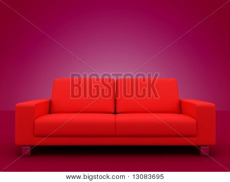 Elegant red sofa chair