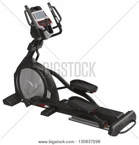 Elliptical gym machine over white background 3D Illustration