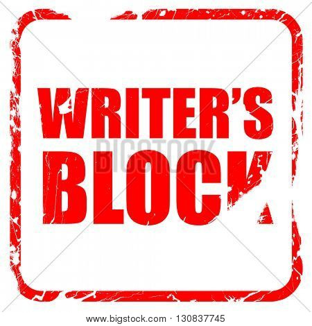 writer's block, red rubber stamp with grunge edges