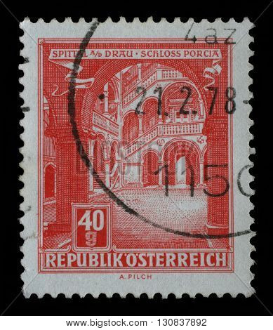 ZAGREB, CROATIA - SEPTEMBER 03: A stamp printed in Austria, shows Schloss Porcia (Porcia Castle) in Spittal an der Drau, circa 1962, on September 03, 2014, Zagreb, Croatia