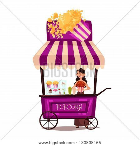 Selling popcorn on the street, comic cartoon vector illustration isolated on white background, seller sells popcorn on a mobile shop, selling fast food made from corn meal