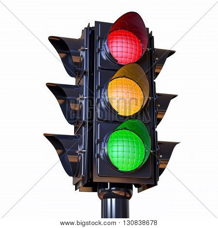 3D Isolated Traffic Light Illustration