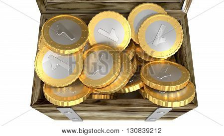 One coins chest heap over white background 3d render