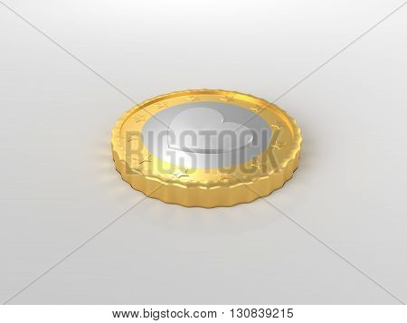 Heart coin concept on the desk 3d render