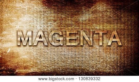 Magenta, 3D rendering, text on a metal background
