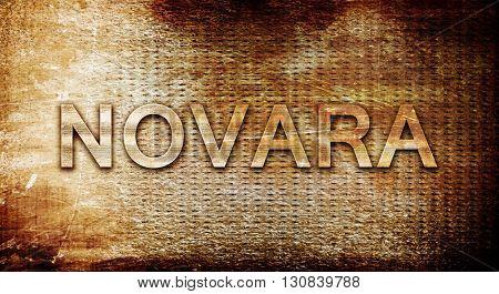 Novara, 3D rendering, text on a metal background