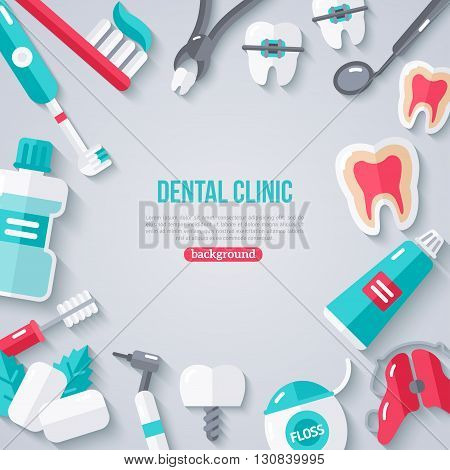 Dentistry Banner With Flat Icons. Vector illustration. Dental Concept Frame. Healthy Clean Teeth. Dentist Tools and Equipment.