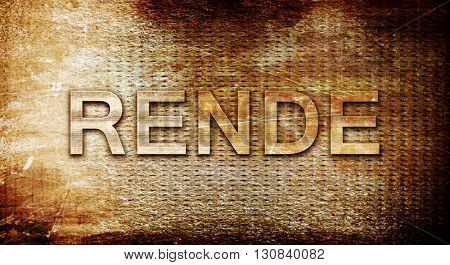 Rende, 3D rendering, text on a metal background