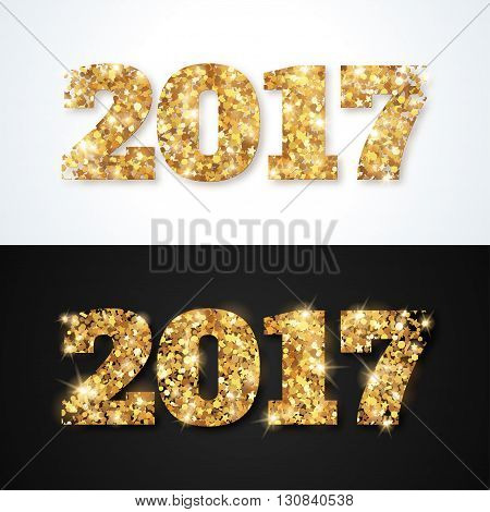 Happy New Year 2017 Greeting Cards with Gold Numbers on White and Black Background. Vector Illustration. Merry Christmas Flyer, Brochure Cover, Poster. Minimalistic Invitation Design.