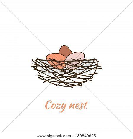Three bird eggs in a cozy nest. Vector illustration.
