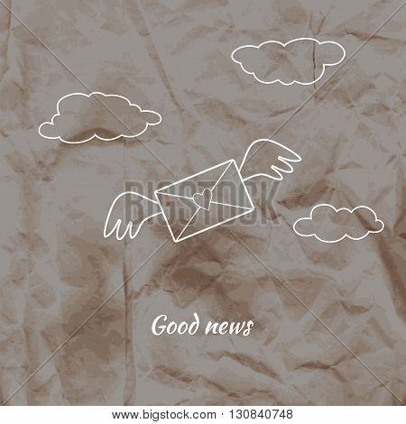 Envelope with a heart and wings on crumpled kraft paper background. Vector illustration.