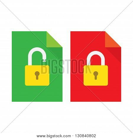 Vector document and lock icon. Modern flat design vector illustration concept for web banners mobile app web sites printed materials infographics.