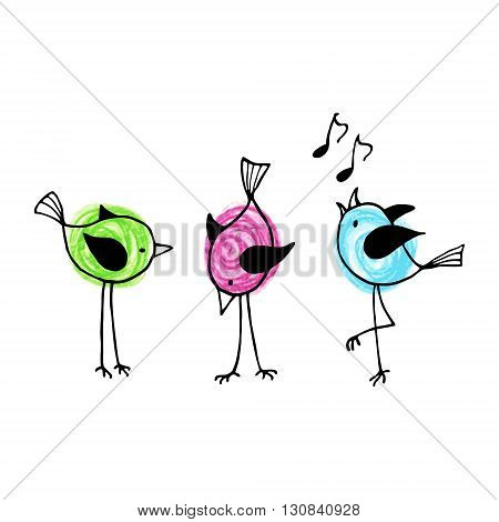 Three funny cartoon birds on a white background. Vector illustration