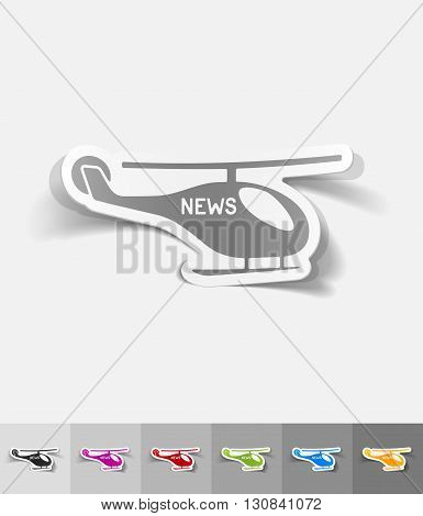 news helicopter paper sticker with shadow. Vector illustration