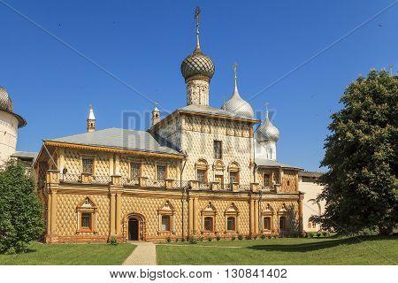 Rostovm Russia - June 3: This is Orthodox church Odigitrii in Rostov Kremlin June 3, 2013 in Rostov, Russia.