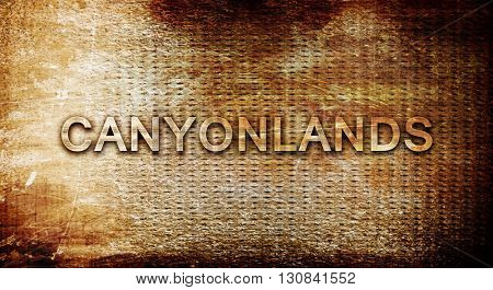 Canyonlands, 3D rendering, text on a metal background
