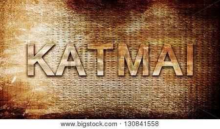 Katmai, 3D rendering, text on a metal background