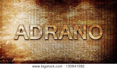 Adrano, 3D rendering, text on a metal background