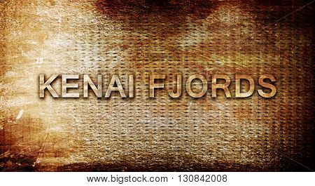 Kenai fjords, 3D rendering, text on a metal background