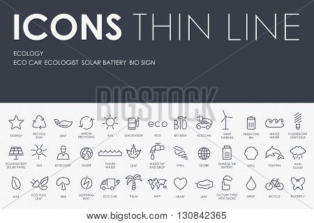 Thin Stroke Line Icons of ecology on White Background