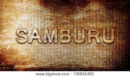 Samburu, 3D rendering, text on a metal background