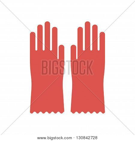 Red glove for hygiene cleaning and rubber glove wash work protection. Rubber red gloves cartoon flat icon vector illustration.