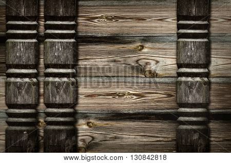 background of wooden planks with carved friezes