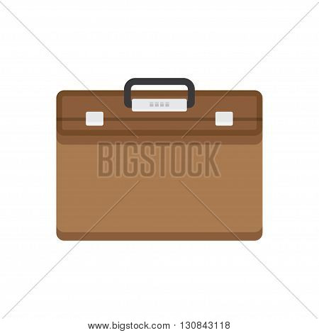 Briefcase vector illustration. Briefcase business. Briefcase in flat style. Briefcase icon. Briefcase isolated. Briefcase with lock. Briefcase male brown.