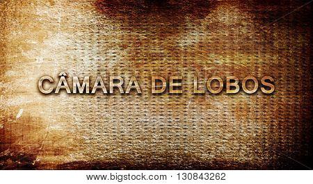 Camara de lobos, 3D rendering, text on a metal background