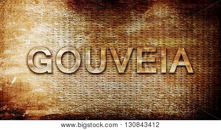 Gouveia, 3D rendering, text on a metal background