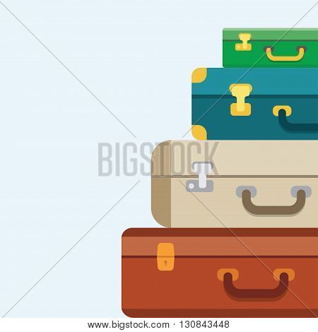 Baggage luggage suitcases on background. Flat style vector illustration.