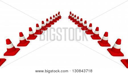 Traffic cones forming driving direction - the path from a road cones. Isolated. 3D Illustration