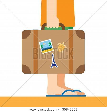 Briefcase with stickers in hand. Traveller flat illustration