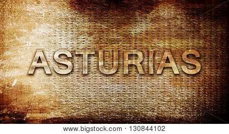 Asturias, 3D rendering, text on a metal background