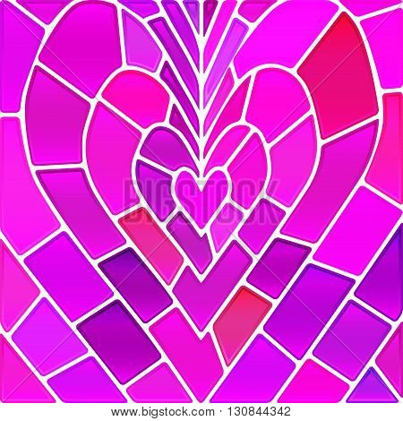 abstract vector stained-glass mosaic background - purple magenta heart