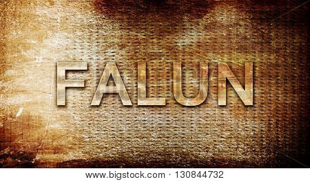 Falun, 3D rendering, text on a metal background