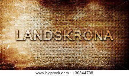 Landskrona, 3D rendering, text on a metal background