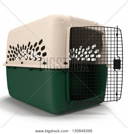Pet carrier for pet traveling isolated on white background 3D Illustration