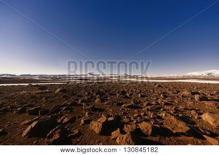 Volcanic icelandic landscape, the highlands at day