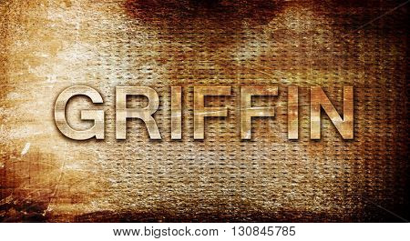 griffin, 3D rendering, text on a metal background