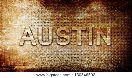austin, 3D rendering, text on a metal background