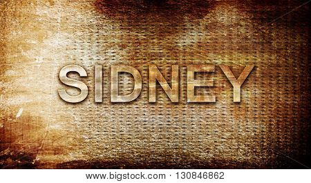 sidney, 3D rendering, text on a metal background