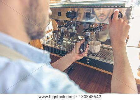 Handsome Barista At Cafe