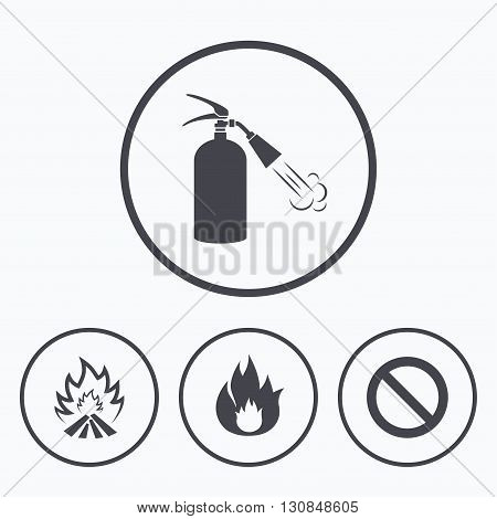 Fire flame icons. Fire extinguisher sign. Prohibition stop symbol. Icons in circles.