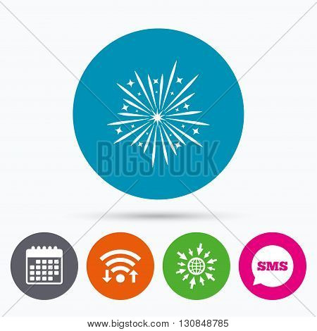Wifi, Sms and calendar icons. Fireworks sign icon. Explosive pyrotechnic show symbol. Go to web globe.